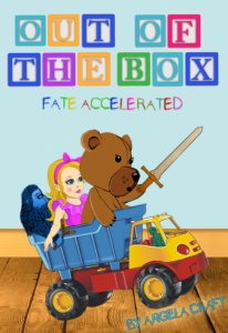 Out of the Box Fate Accelerated supplement cover. A toy gorilla, fashion doll, and bear ride in the back of a dump truck, driven by a green army guy. The bear looks particularly fierce, wielding a wooden sword.